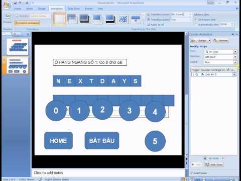 Hướng dẫn làm Ô Chữ Trò Chơi trên PowerPoint 2007