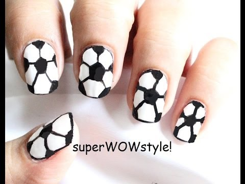 6 Easy Steps  Football Nails  (Soccer Nail Art Designs