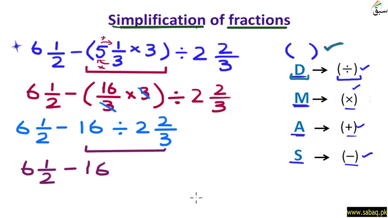 hight resolution of Use BODMAS rule to simplify fractions