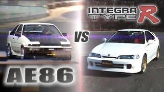 [ENG CC] Tsuchiya's AE86 vs. Integra Type R in Tsukuba AEHV01