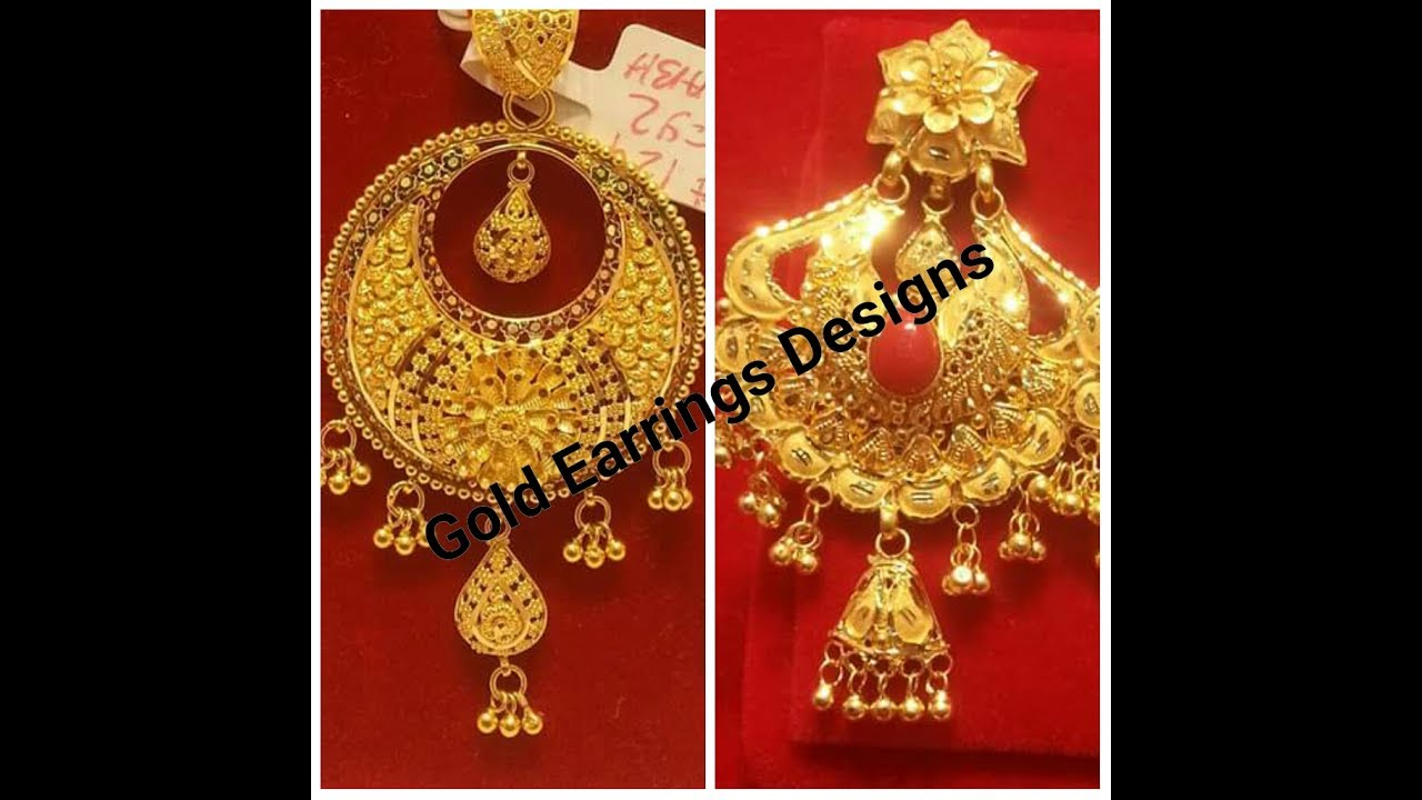 Gold Earrings Designs 2017 July All Latest Collection - YouTube