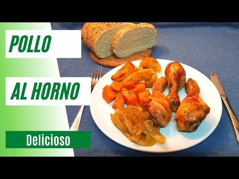 MUSLOS DE POLLO AL HORNO - Con Patatas, Boniato y Cebolla