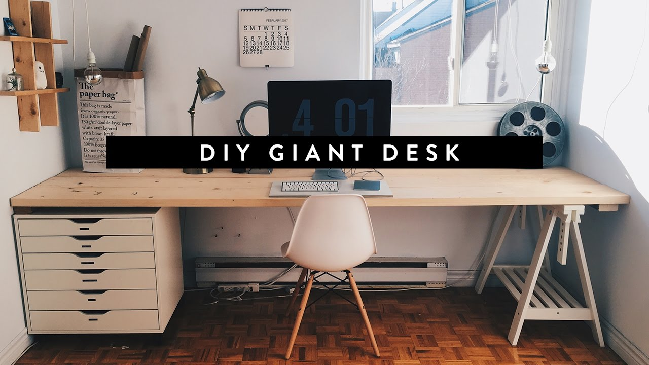 Diy giant home office desk youtube Diy work desk