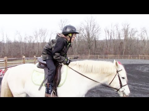 Boys Learn the Two Point at Horse Riding Lessons