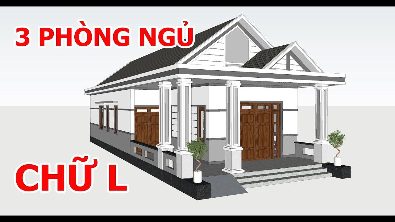 image Gợi Ý Mẫu Nhà Cấp 4 Chữ L 3 Phòng Ngủ Tuyệt Đẹp Cho Nông Thôn | Kiến Trúc Nhà Việt