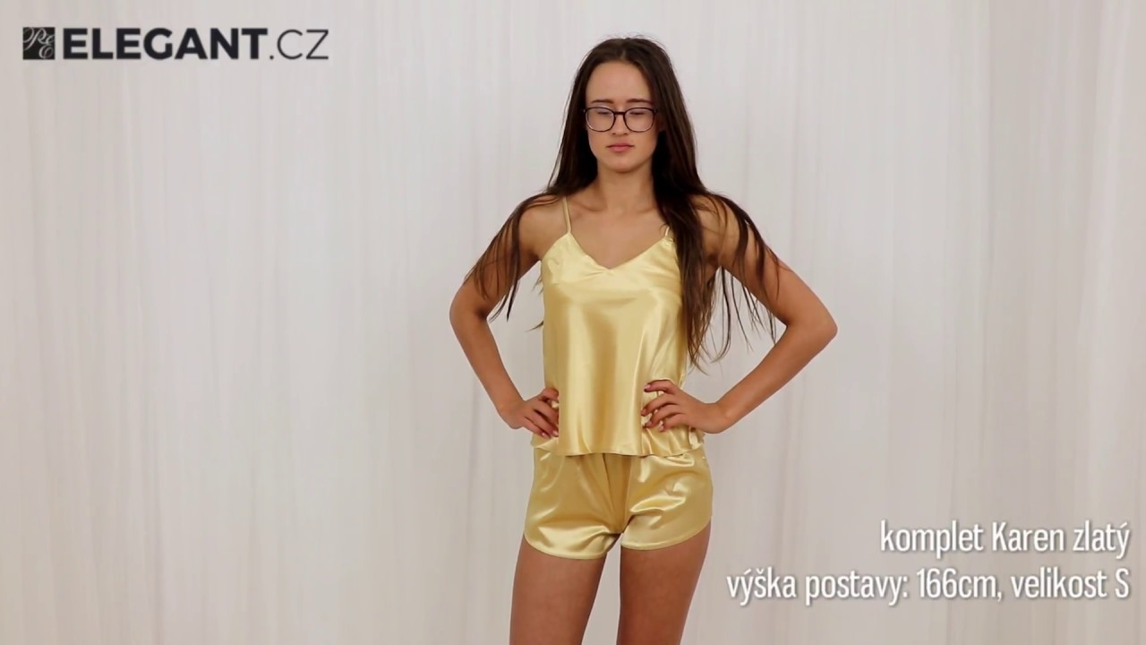 7e7f44ae044 DKaren saténové pyžamo Karen zlaté - YouTube