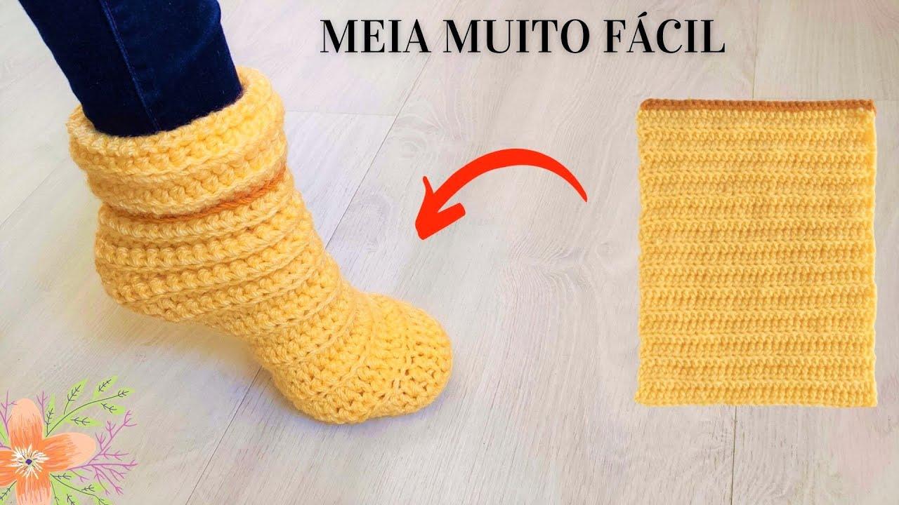 MEIA DE CROCHÊ PASSO A PASSO FÁCIL