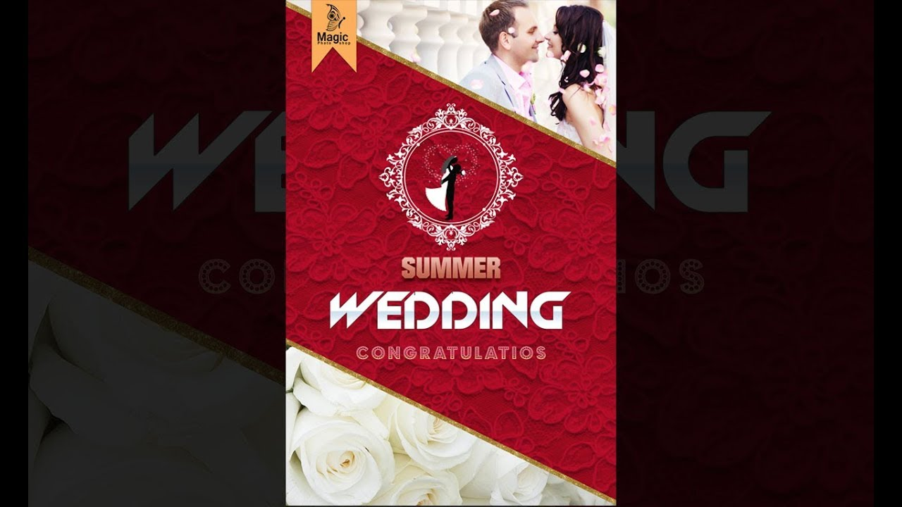 How to design wedding invitation card design in photoshop - YouTube