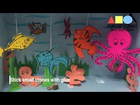 Aquarium for school project | DIY Aquarium box | How to make fish aquarium using box | 3D craft