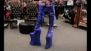 Trying To Walk In Massive 13.5 Inch Platform Heavy Rock Cosplay Glitter Boots