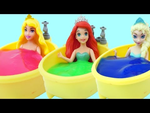 Disney Princess Slime Bath Time Slime Learn Colors Toys Family Finger Song for Toddlers