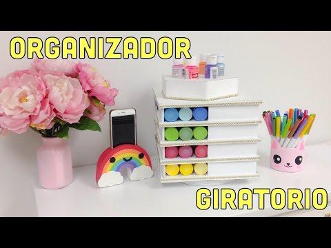 ORGANIZADOR DE CARTÓN GIRATORIO(manualidades con reciclaje)