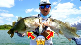 Catching MULTIPLE Giant Bass AT THE SAME TIME!!! --INSANE Crankbait Fishing!!!