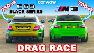 AMG C63 Black Series 750 dk v BMW M3 700 dk: DRAG RACE 402 meter, 805 meter, dan 1,6 km!