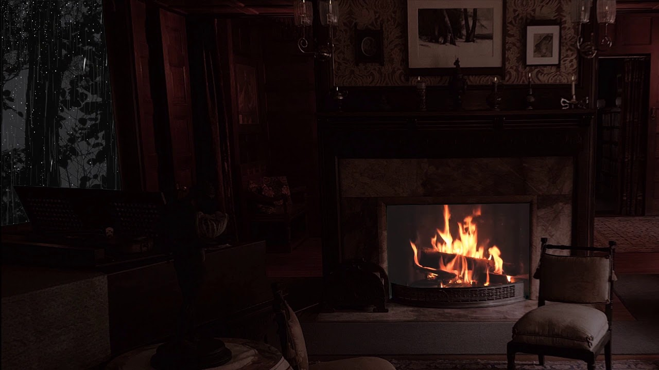 Kaminfeuer im Haus mit Donner, Wind und Regen - 3 Stunden