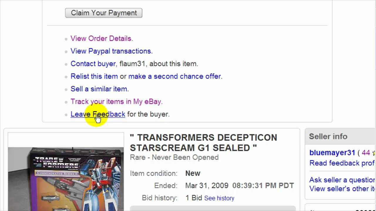 Ebay How To Leave Feedback For A Buyer Ebay Video Tutorial 16 Of 34 Youtube