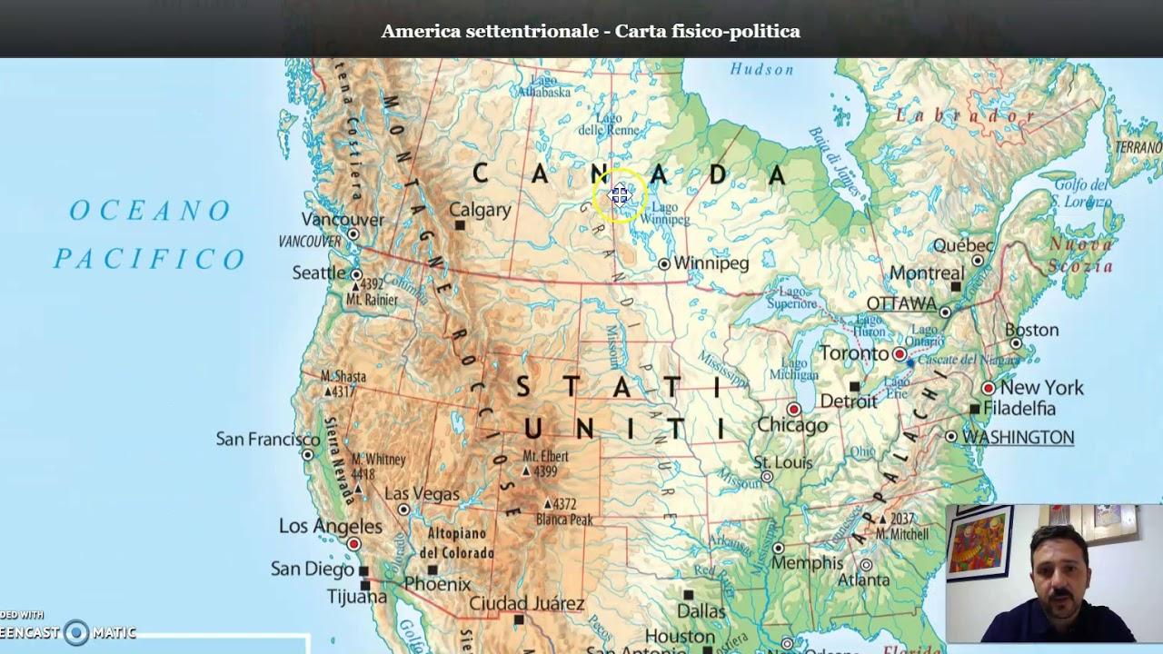 Cartina Fisico Politica Degli Stati Uniti.Stati Uniti D America Aspetti Fisici Youtube