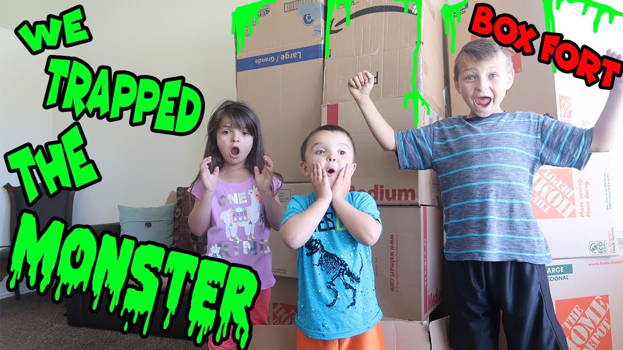 WE TRAPPED THE MONSTER | In a BOX FORT!!! - YouTube
