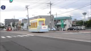【函館市電】花電車 杉並町付近・五稜郭タワーを入れて 20170731