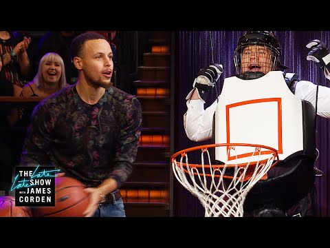 Stephen Curry aggresively throws basketballs at James Corden