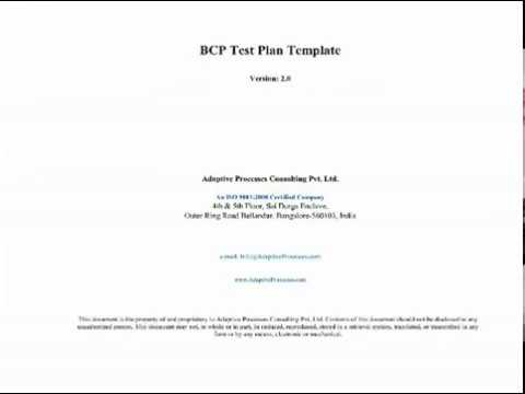BCP Test Plan Template - YouTube