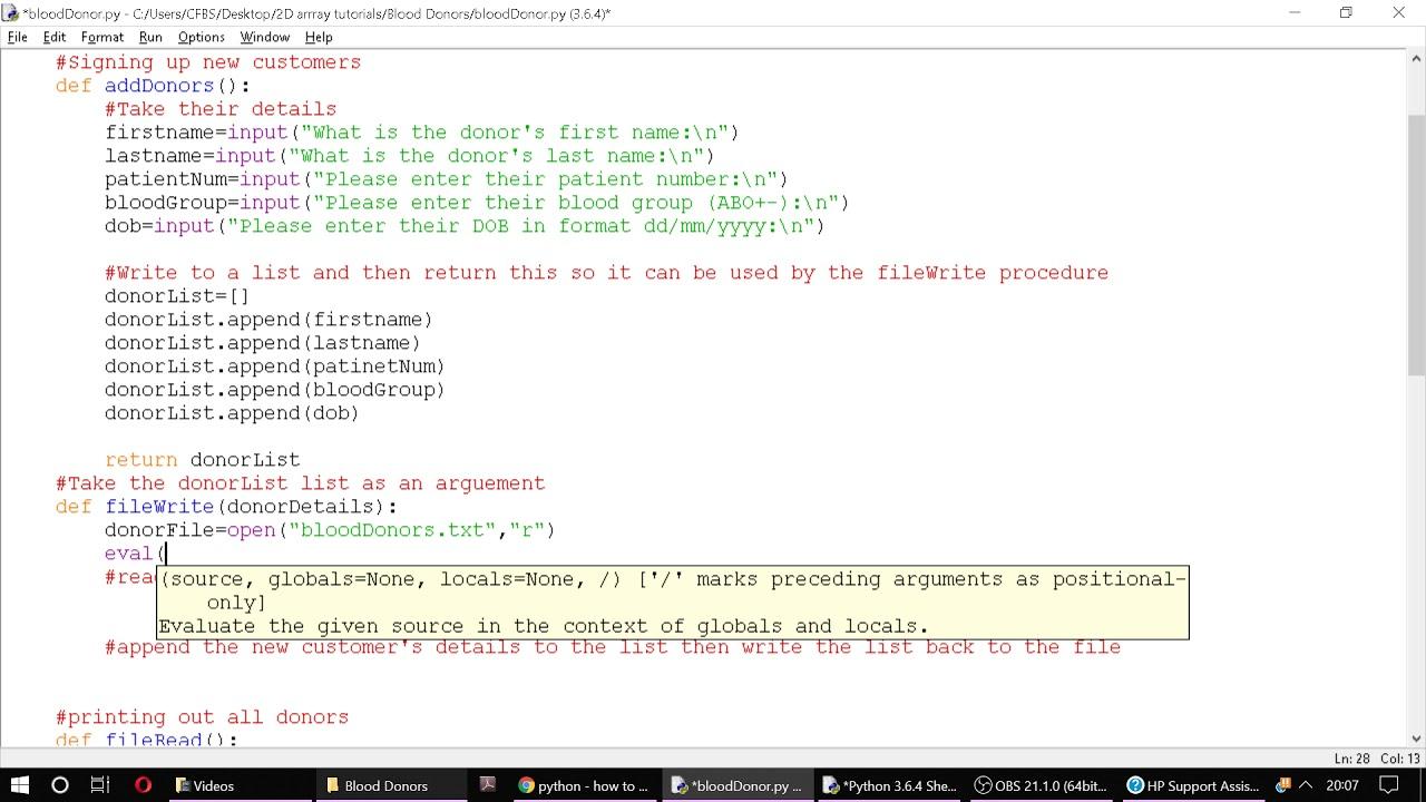 Python Tutorial 7: File writing using a 7D List