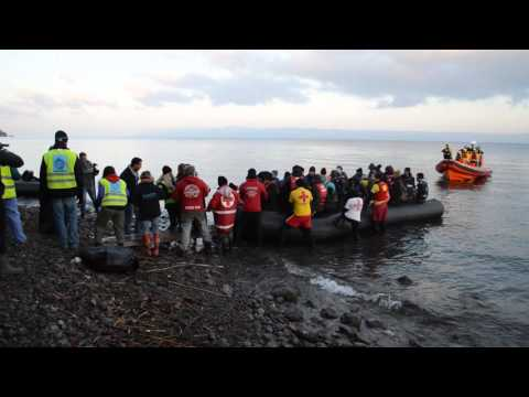 Syrian refugees arrive on the island of Lesbos in Greece