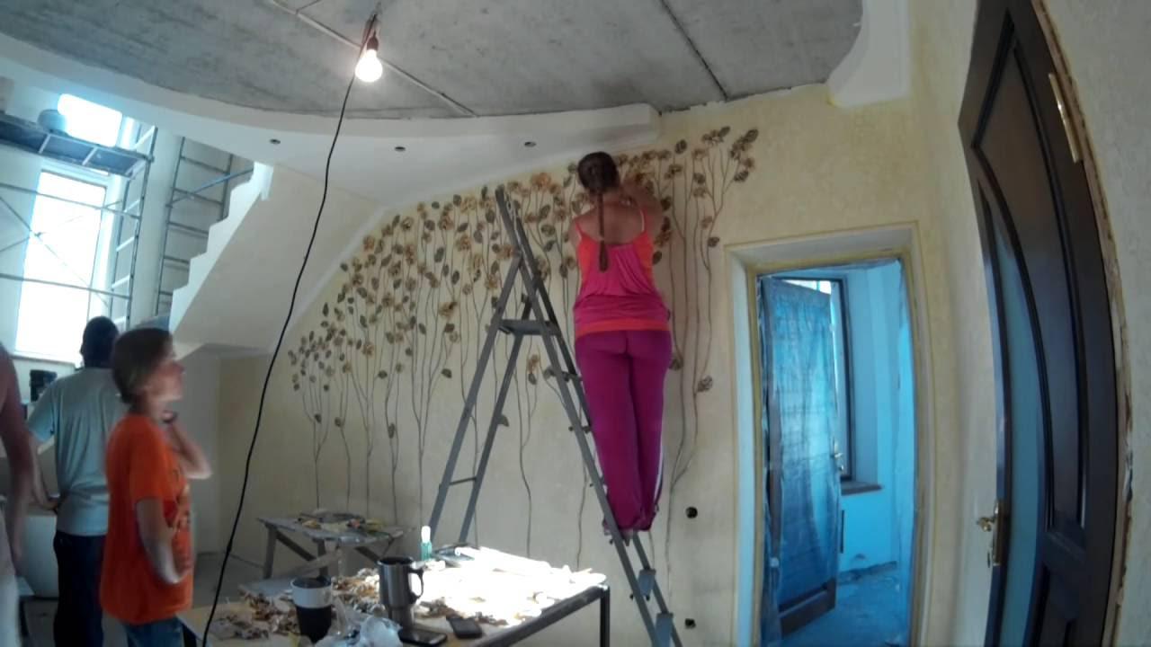 Цветы. Орхидеи. Художественная лепка на стене. Flowers ...