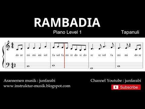 Not Balok Rambadia - Piano Level 1 - Lagu Daerah Tapanuli - Solmisasi