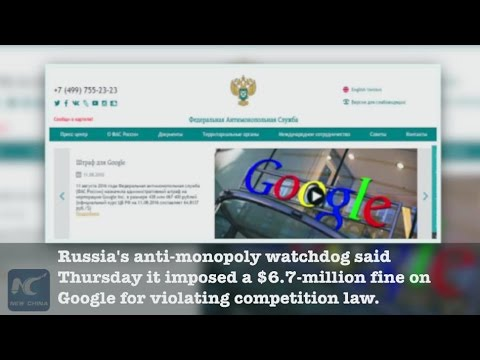 Google fined 6.7 mln USD in Russia