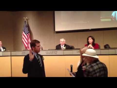 Skylar Peak being sworn in Malibu city council