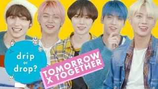 TOMORROW X TOGETHER Can't Agree on Their Favorite Fashion Trends | Drip or Drop? | Cosmopolitan