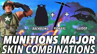 """""""MUNITIONS MAJOR"""" SKIN BEST BACKBLING + SKIN COMBOS! (Season 8) (Fortnite) (2019)"""