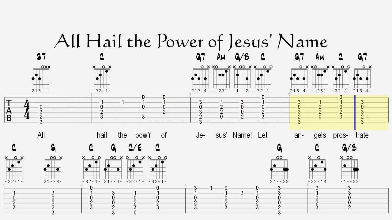 All hail the power of jesus name lesson with guitar tablature all hail the power of jesus name lesson with guitar tablature and chords hexwebz Images