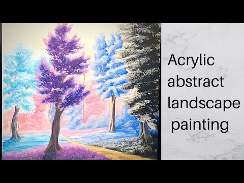 Easy abstract acrylic landscape painting/ speed painting//time lapse