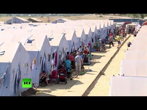 Временные лагеря на российской границе переполнены беженцами с Украины