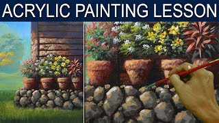 Beside the House in Basic Step by Step Acrylic Landscape Painting Tutorial by JM Lisondr