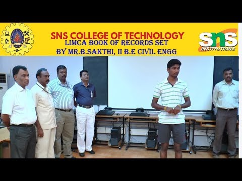 Limca Book of Records set by Mr.B.Sakthi , II B.E Civil Engg, SNS Institutions
