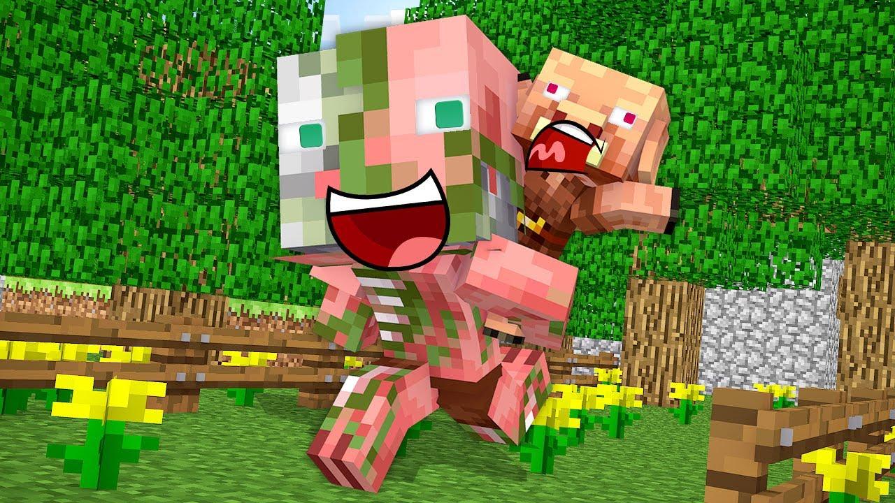 Monster School : Zombie Pigman Brothers Challenge - Minecraft Animation