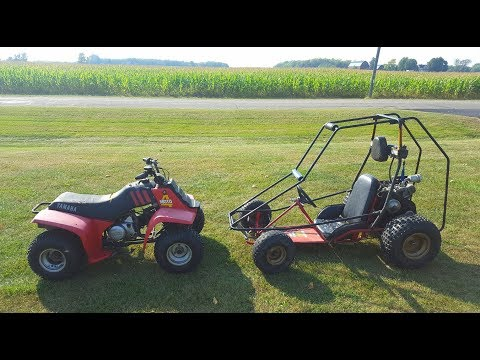 Yamaha 80cc Four Wheeler vs Go Kart!!!
