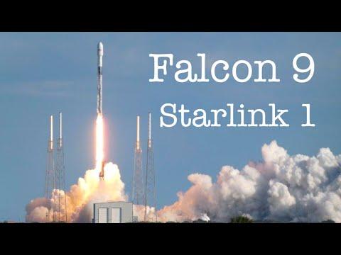 Запуск Falcon 9 от SpaceX со 60 спутниками Starlink. Взлет и посадка ступени. Вывод спутников. Титры