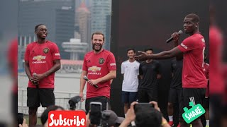 The Float Marina Bay Aaron Wan-Bissaka, Juan Mata and Paul Pogba on stage United Asian Travel vlog