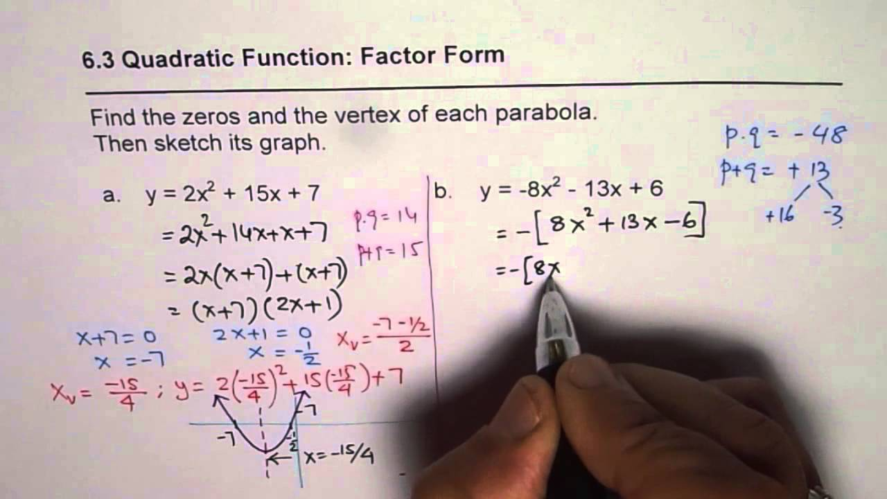 How to Write Quadratic Equation in Factor Form and Find Vertex ...