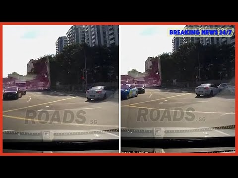 Moment 'ghost car' appears to cause car crash in Singapore - Breaking News 24/7