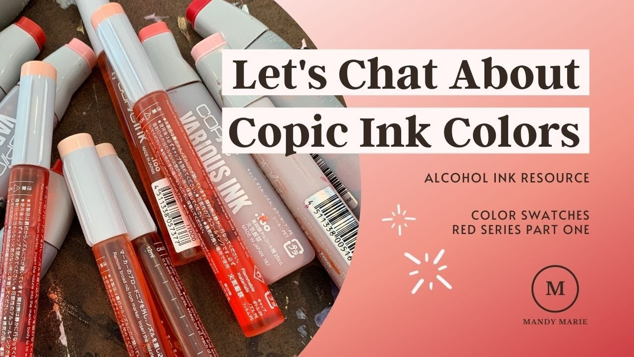 19 Intense Copic Ink Refill Color Swatches: Red Series