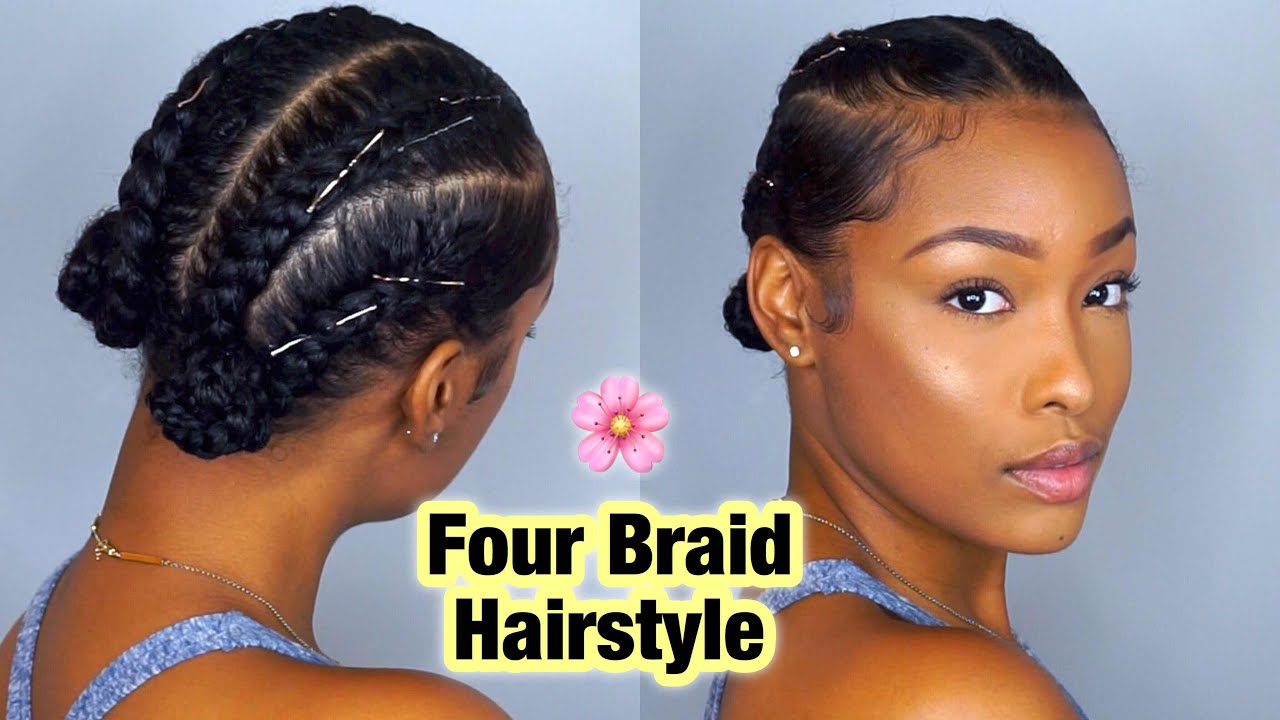 Braided Updo Styles For Natural Hair: Simple Four Braid Hairstyle For Natural Hair