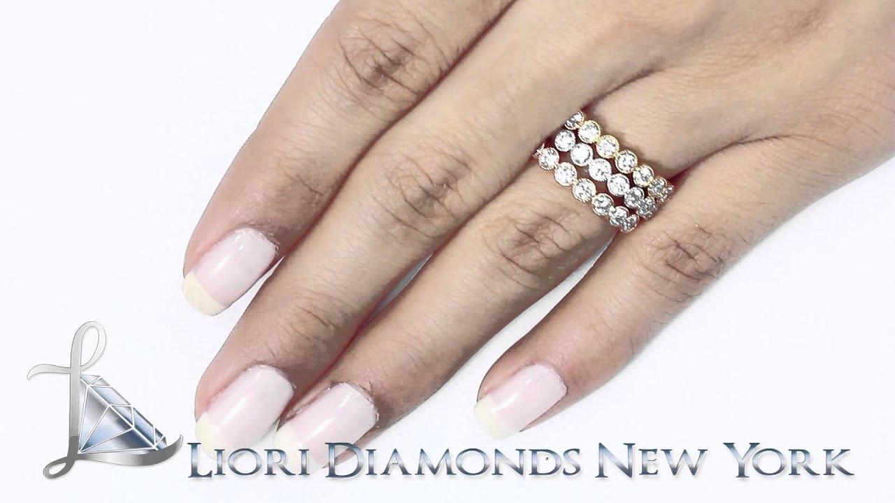 tri color wedding ring micro pave wedding band Tri color wedding ring Srs 1 26 Ct Tri Color Stackable Ring Set Micro