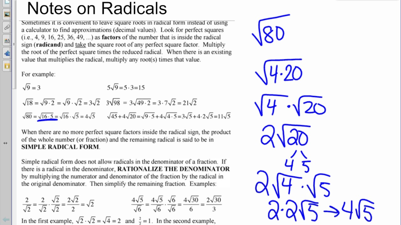 Simple Radical FORM VIDEO - YouTube