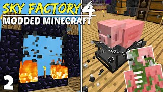 Sky Factory 4 Ep2! NETHER NO MORE!? Modded Minecraft Skyblock, Survival Lets Play!