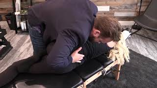 *NECK TENSION* Dr. Nelson adjusts local mortgage broker with UPPER BACK tension.